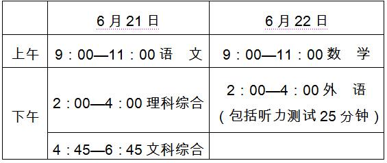 河北省2015年中考时间表。张建国制表