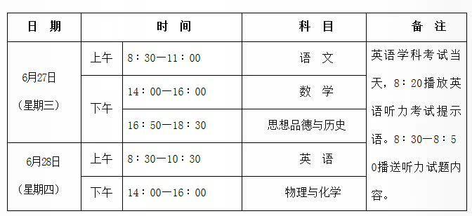 2018陕西中考时间日期安排